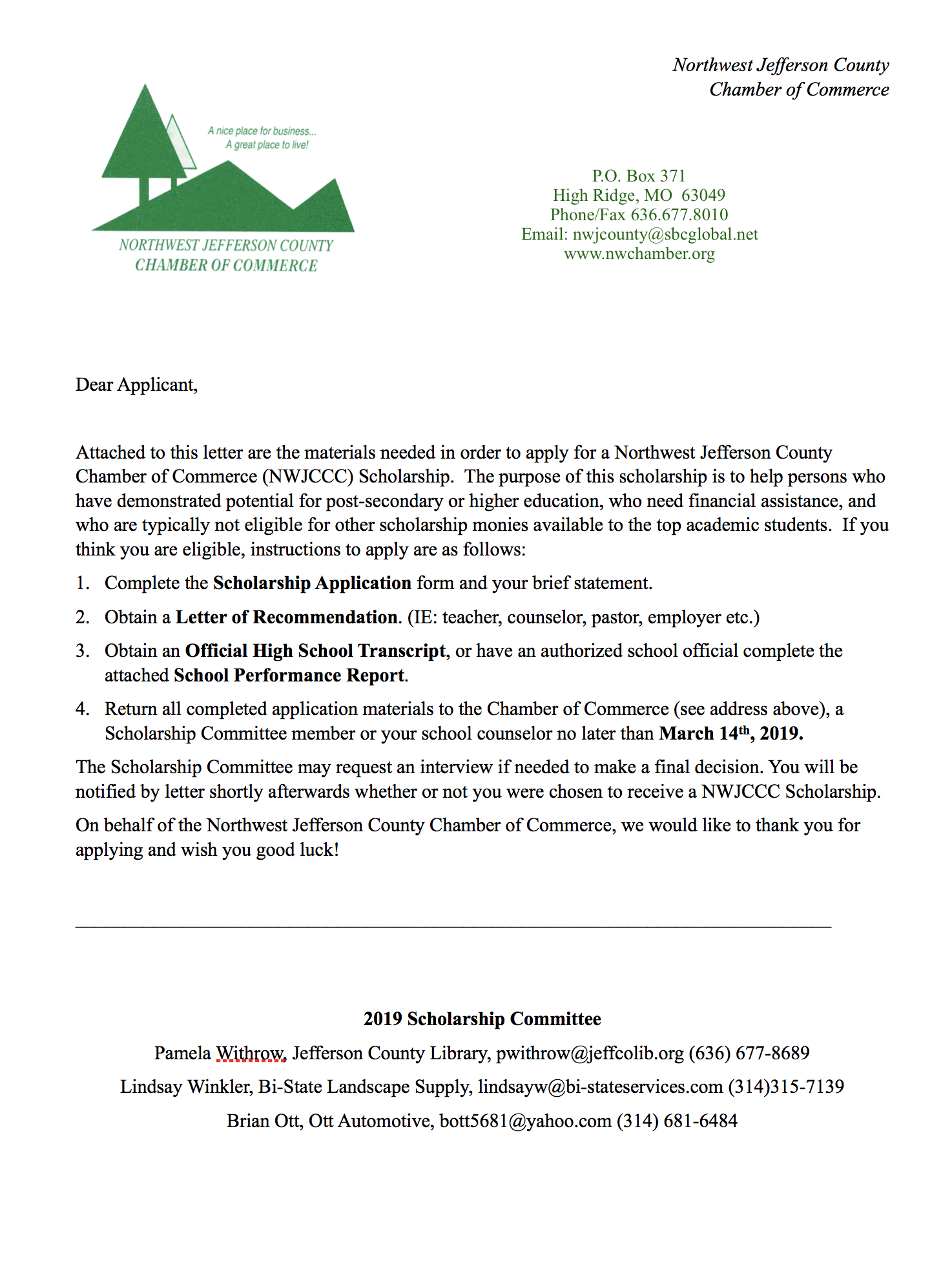 2019 Northwest Jefferson County Chamber Scholarship Application
